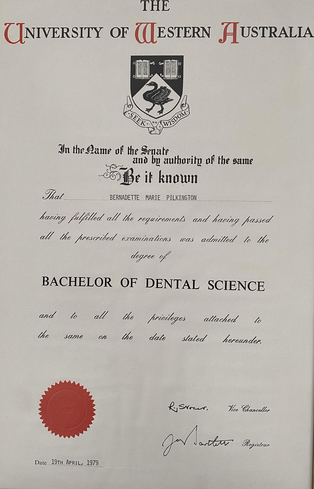 A Bachelor of Dental Science degree certificate awarded to Bernadette Pilkington.
